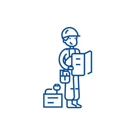 Worker with plan and tools line concept icon. Worker with plan and tools flat  vector website sign, outline symbol, illustration.