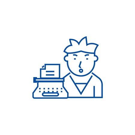 Writer line concept icon. Writer flat  vector website sign, outline symbol, illustration.