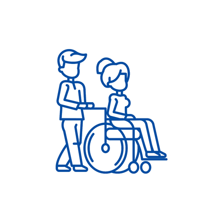 Young man strolling with young woman in  line concept icon. Young man strolling with young woman in  flat  vector website sign, outline symbol, illustration.