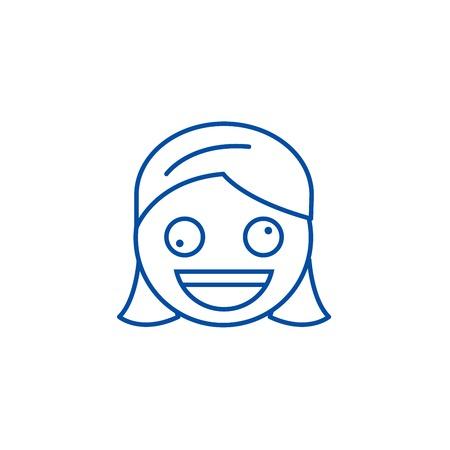 Zany face emoji line concept icon. Zany face emoji flat  vector website sign, outline symbol, illustration. Ilustração
