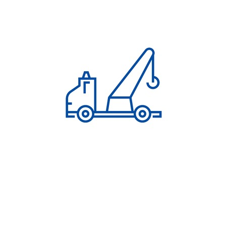 Wrecker truck line concept icon. Wrecker truck flat  vector website sign, outline symbol, illustration. Banque d'images - 120055306