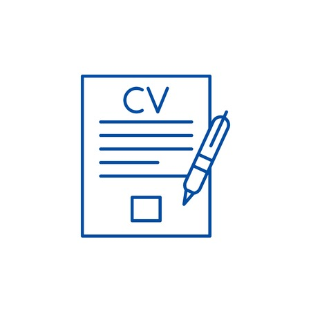 Writing a resume line concept icon. Writing a resume flat  vector website sign, outline symbol, illustration. Illustration