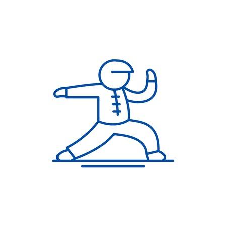 Ikona koncepcja linii Wushu. Wushu płaski wektor stronie znak, symbol konspektu, ilustracja.