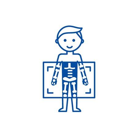 Rayon X, icône de concept de ligne d'homme de diagnostic médical. X ray, diagnostic médical homme télévision vector website sign, symbole du contour, illustration.