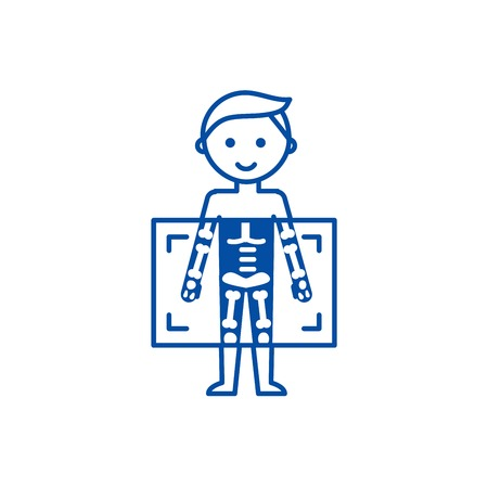 X ray,medical diagnostics man  line concept icon. X ray,medical diagnostics man  flat  vector website sign, outline symbol, illustration.