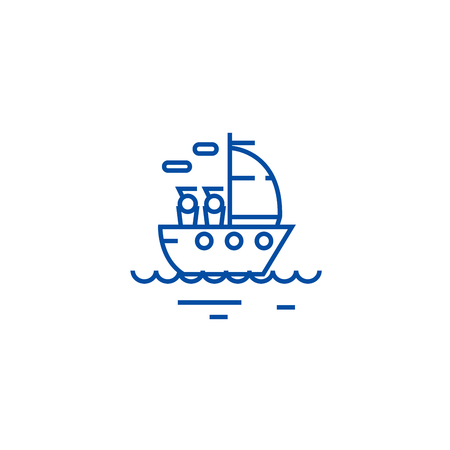 Yacht sailing line concept icon. Yacht sailing flat  vector website sign, outline symbol, illustration.