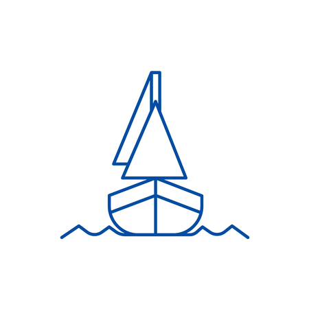 Yacht, front veiw line concept icon. Yacht, front veiw flat  vector website sign, outline symbol, illustration.