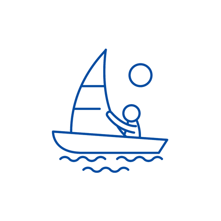 Yachting line concept icon. Yachting flat  vector website sign, outline symbol, illustration. Illustration