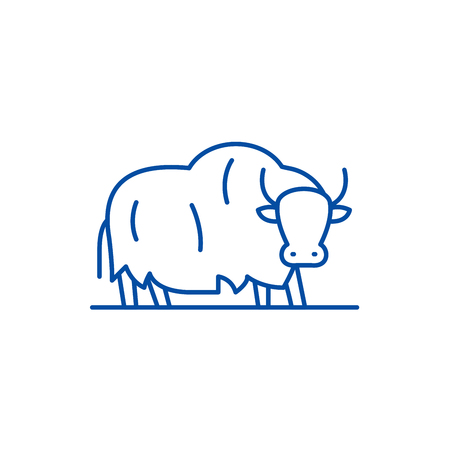 Yak line concept icon. Yak flat  vector website sign, outline symbol, illustration.