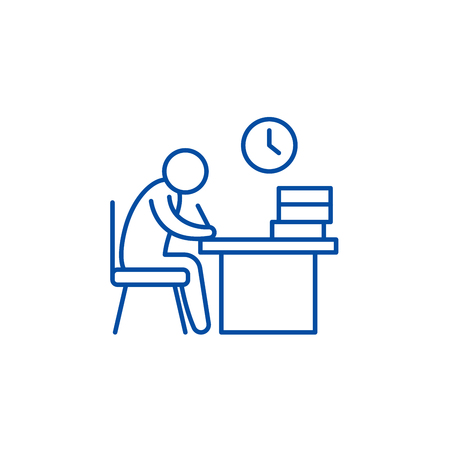 Working day line concept icon. Working day flat  vector website sign, outline symbol, illustration.