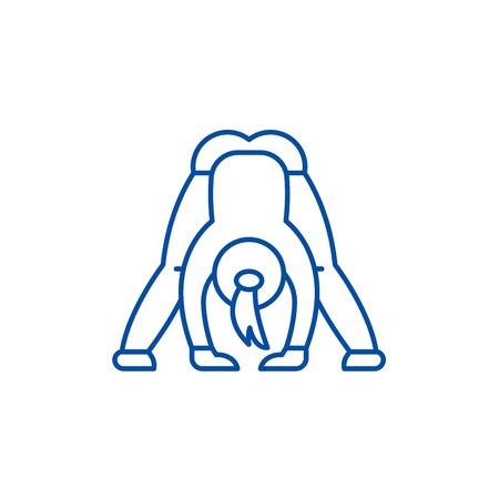 Yoga line concept icon. Yoga flat  vector website sign, outline symbol, illustration.