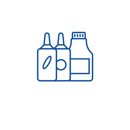 Yogurts line concept icon. Yogurts flat  vector website sign, outline symbol, illustration.