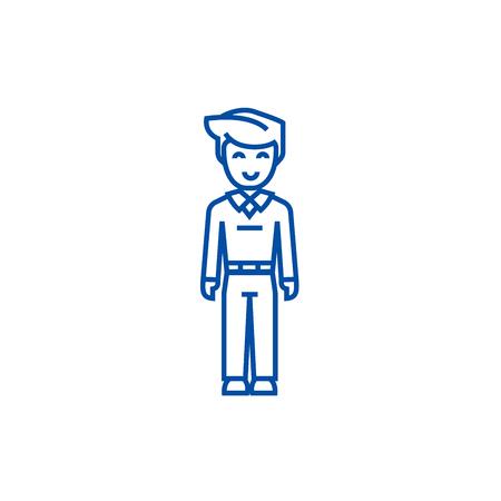Youg man standing,student line concept icon. Youg man standing,student flat  vector website sign, outline symbol, illustration.