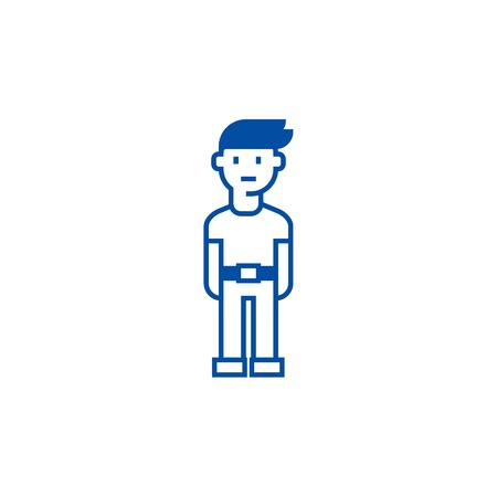 Young man  line concept icon. Young man  flat  vector website sign, outline symbol, illustration.  イラスト・ベクター素材