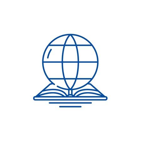 World law line concept icon. World law flat  vector website sign, outline symbol, illustration.