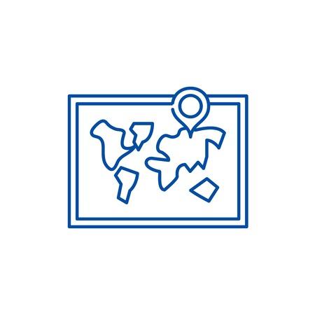 World map line concept icon. World map flat  vector website sign, outline symbol, illustration. 向量圖像