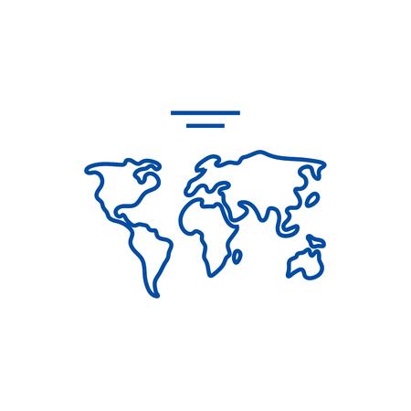 World map  line concept icon. World map  flat  vector website sign, outline symbol, illustration.