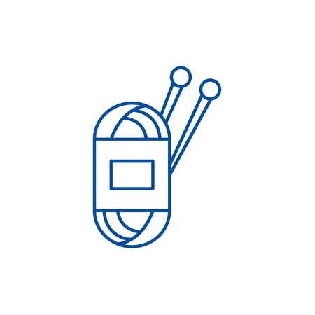 Yarn line concept icon. Yarn flat  vector website sign, outline symbol, illustration.