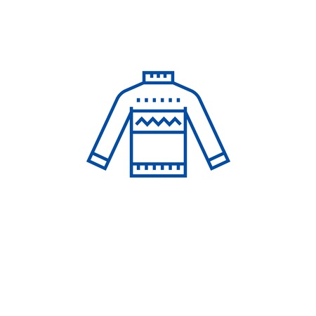 Wool sweater line concept icon. Wool sweater flat  vector website sign, outline symbol, illustration. Illustration