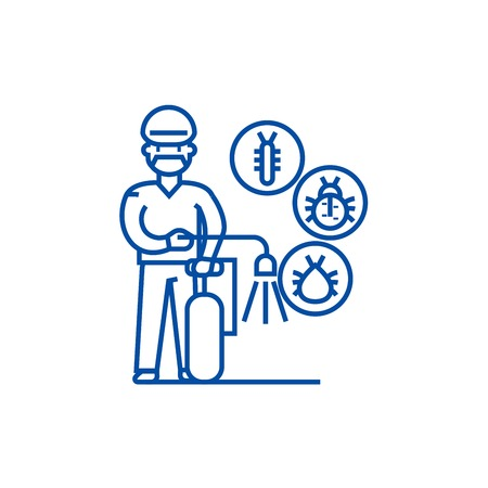 Worker,bug destroyer line concept icon. Worker,bug destroyer flat  vector website sign, outline symbol, illustration.