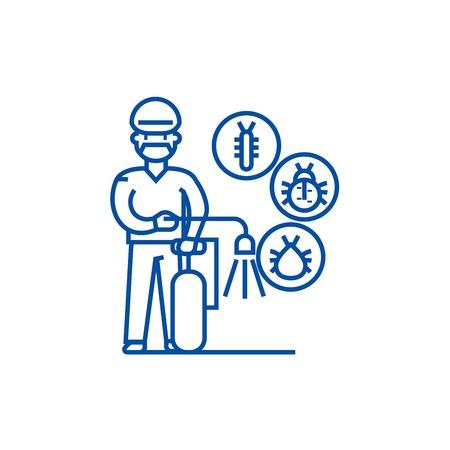 Worker,bug destroyer line concept icon. Worker,bug destroyer flat vector website sign, outline symbol, illustration.