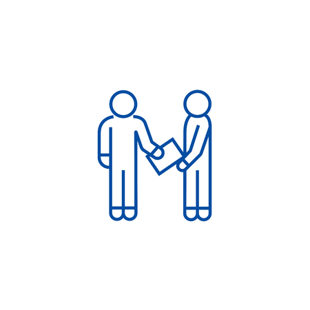 Man giving document line concept icon.  Man giving document flat  vector website sign, outline symbol, illustration. Ilustracja