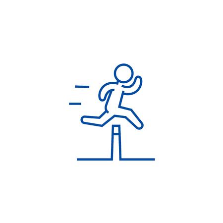 Obstacle race concept line concept icon.  Obstacle race concept flat  vector website sign, outline symbol, illustration. Illustration