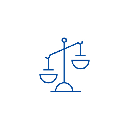 Justice sign line concept icon. Justice sign flat  vector website sign, outline symbol, illustration.
