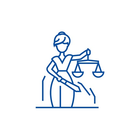 Justice statue line concept icon. Justice statue flat  vector website sign, outline symbol, illustration.