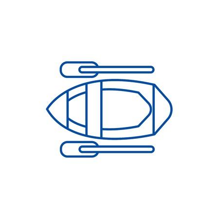 Kayak line concept icon. Kayak flat  vector website sign, outline symbol, illustration.