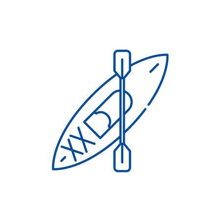 Kayaks line concept icon. Kayaks flat  vector website sign, outline symbol, illustration. Illustration