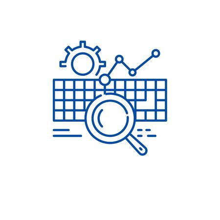 Keywording line concept icon. Keywording flat  vector website sign, outline symbol, illustration.