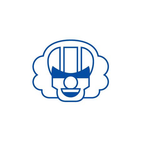 Killer clown emoji line concept icon. Killer clown emoji flat  vector website sign, outline symbol, illustration.