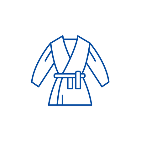 Kimono line concept icon. Kimono flat  vector website sign, outline symbol, illustration.