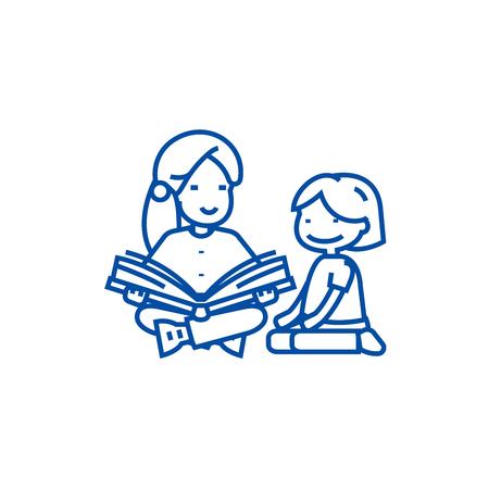 Maestra de jardín de infantes, mujer leyendo icono de concepto de línea. Maestra de jardín de infantes, mujer leyendo sitio web de vector plano signo, símbolo de contorno, ilustración.