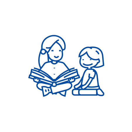Kindergarten teacher,woman reading  line concept icon. Kindergarten teacher,woman reading  flat  vector website sign, outline symbol, illustration.