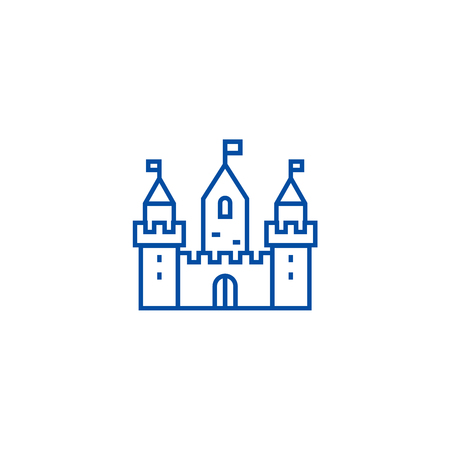 Kingdom castle wtih three towers line concept icon. Kingdom castle wtih three towers flat  vector website sign, outline symbol, illustration.