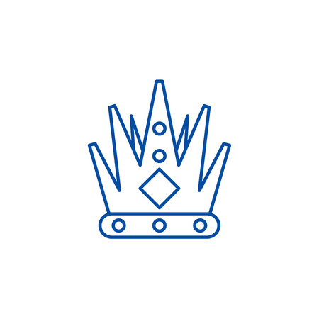 Kings crown line concept icon. Kings crown flat  vector website sign, outline symbol, illustration.