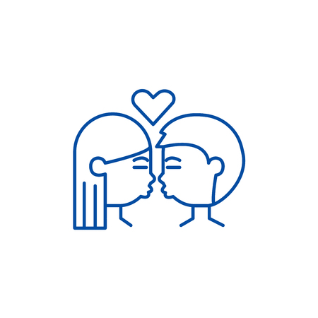 Kissing couple line concept icon. Kissing couple flat  vector website sign, outline symbol, illustration.