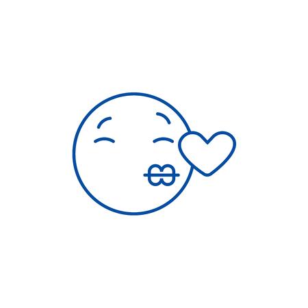 Kissing emoji line concept icon. Kissing emoji flat  vector website sign, outline symbol, illustration. Reklamní fotografie - 120055613