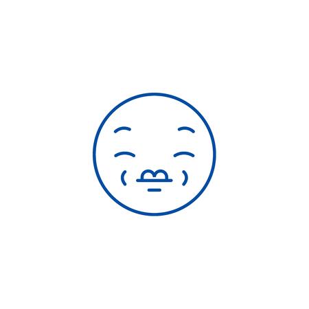 Kissing emoji_1 line concept icon. Kissing emoji_1 flat  vector website sign, outline symbol, illustration. Reklamní fotografie - 120055614