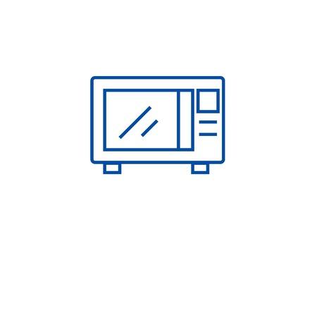 Kitchen microwave line concept icon. Kitchen microwave flat  vector website sign, outline symbol, illustration.