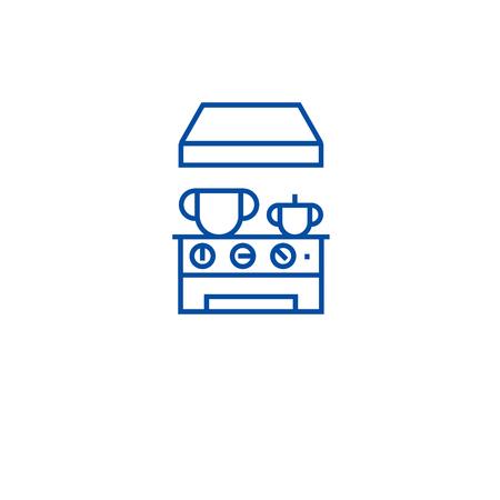 Kitchen stove line concept icon. Kitchen stove flat  vector website sign, outline symbol, illustration.
