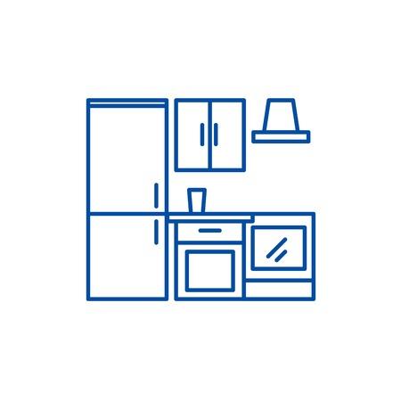 Kitchen wardrobe line concept icon. Kitchen wardrobe flat  vector website sign, outline symbol, illustration.