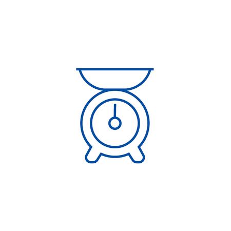 Kitchen weight line concept icon. Kitchen weight flat  vector website sign, outline symbol, illustration.