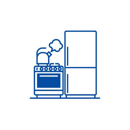 Kitchen,refrigerator, stove, kettle line concept icon. Kitchen,refrigerator, stove, kettle flat  vector website sign, outline symbol, illustration. Ilustração
