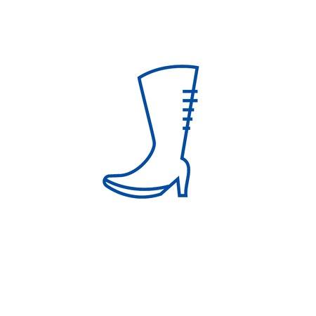 Knee high boots line concept icon. Knee high boots flat  vector website sign, outline symbol, illustration. Archivio Fotografico - 120055065