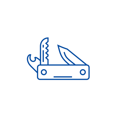 Knife army, multipurpose tool,swiss  line concept icon. Knife army, multipurpose tool,swiss  flat  vector website sign, outline symbol, illustration. Illustration