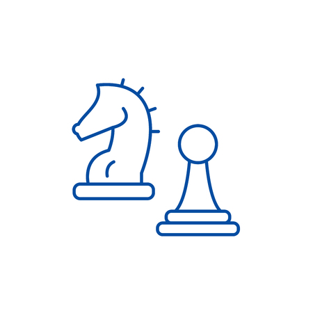 Knight and pawn line concept icon. Knight and pawn flat  vector website sign, outline symbol, illustration.