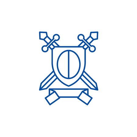 Knightly award line concept icon. Knightly award flat  vector website sign, outline symbol, illustration. Illustration